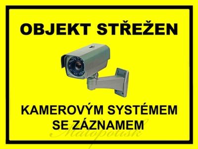 """Výstražná cedule s textem """"kamerový systém"""" žlutá"""